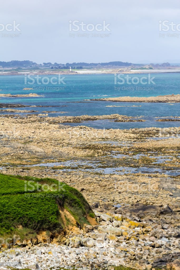 Breton coast in Creac'h Maout stock photo