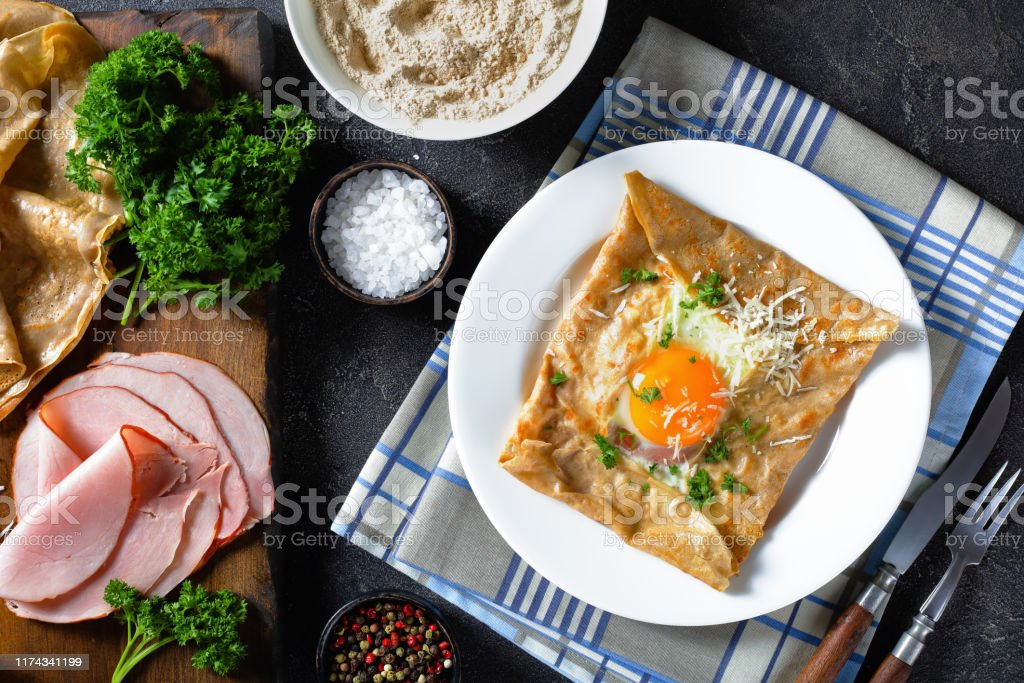 Breton Crepe Savory Buckwheat Galettes Bretonnes With Fried Egg Cheese Ham Stock Photo Download Image Now Istock