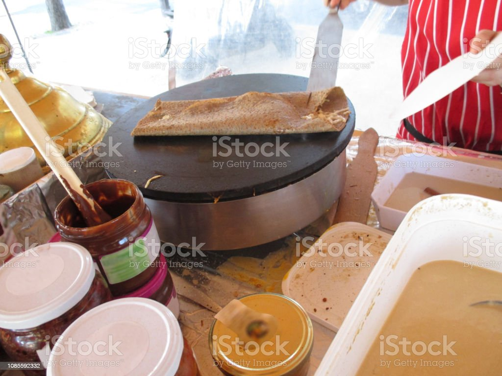 Breton Creperie Cuisine Cheese Pancake During Cooking Stock Photo