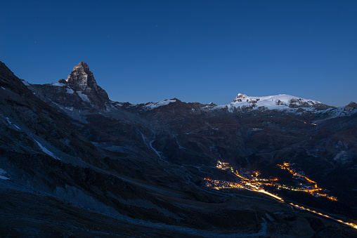 Breuil Cervinia ski resort in summertime by night