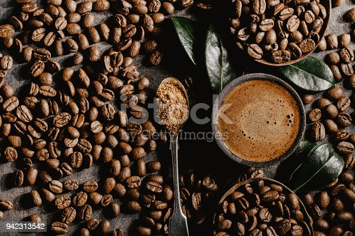 istock Brewed black coffee and beans in arrangement 942313542