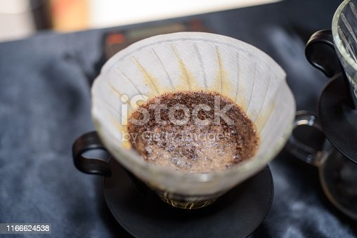Brewed coffee ground in dripper