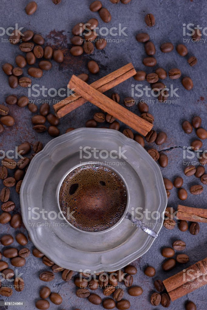 Brewed coffee in vintage cup stock photo