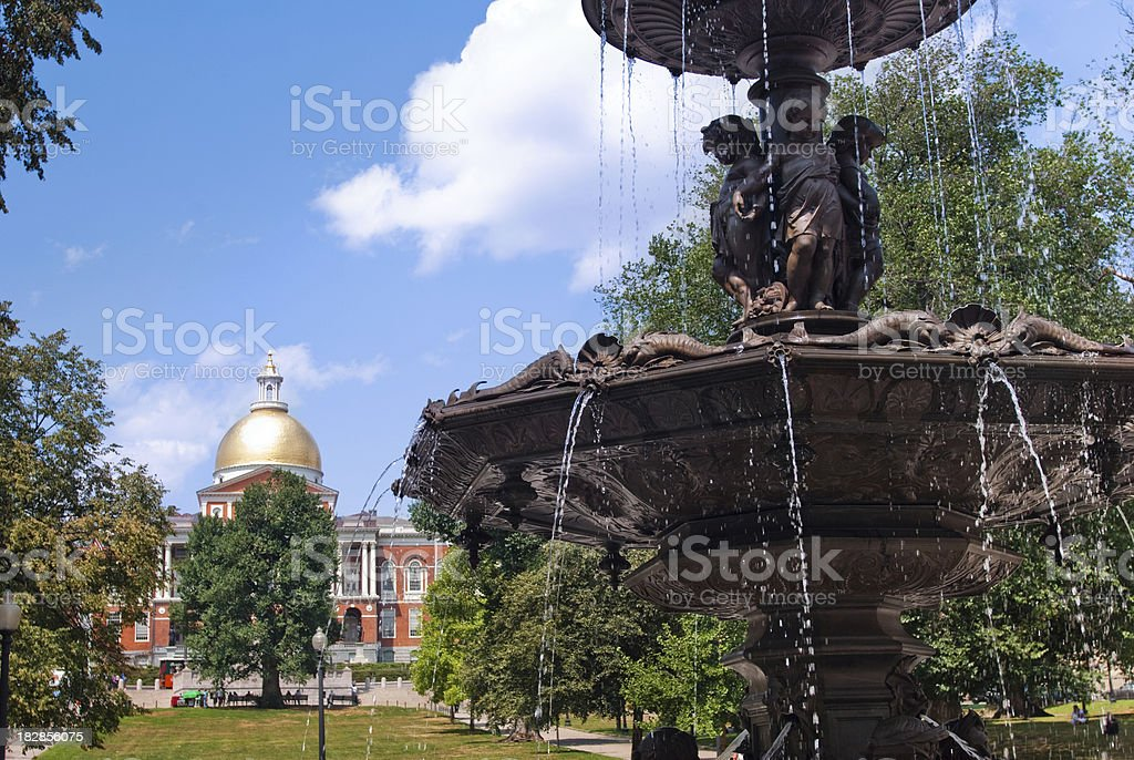 Brewer Fountain in Boston Common with Massachusetts State Capitol stock photo