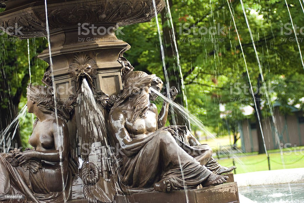 Brewer Fountain in Boston, MA royalty-free stock photo