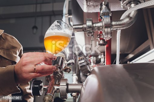 istock brewer man and apron pours beer in a glass for quality control, standing behind the counter in a brewery. 1210441951