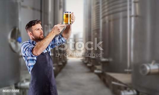 istock Brewer man with a glass of beer in his hand 868515588