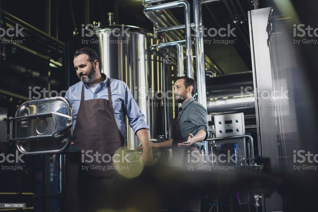 Brewers working with industrial equipment stock photo