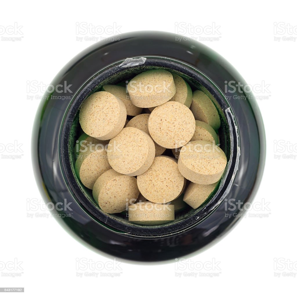 Brewer's yeast nutritional supplement in a bottle stock photo