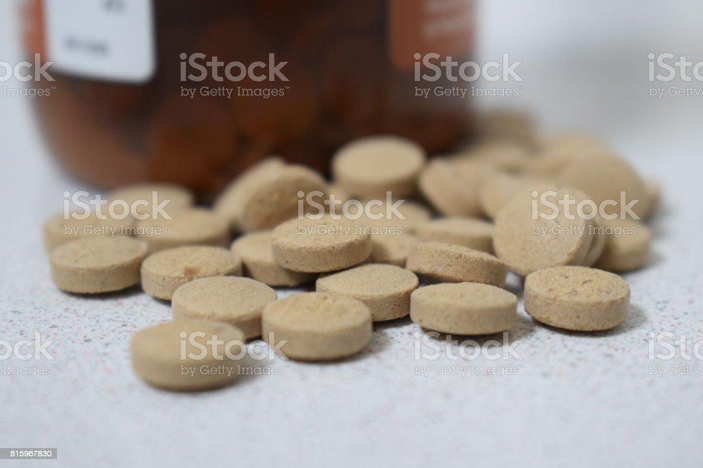 Brewer's yeast pills stock photo