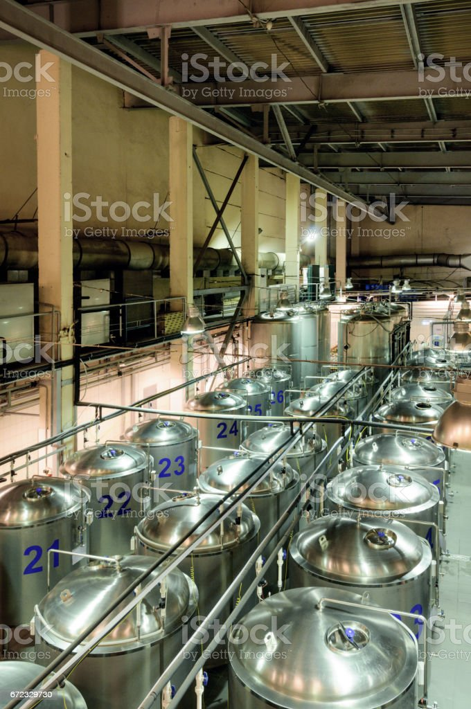 Brewery, beer fermentation workshop stock photo