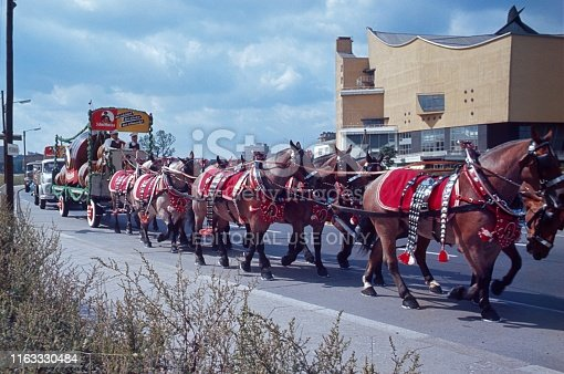 Potsdamer Straße, Berlin (West), Germany, 1976. Brewery horses pull beer wagons with beer barrels. Also: beer coachman and the Berlin Philharmonic.