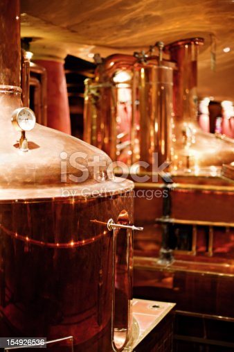 Copper fermenters in a beer brewery