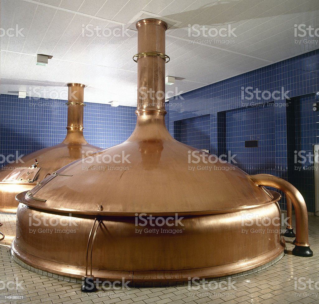 brewery workshop with copper fermentation vats stock photo