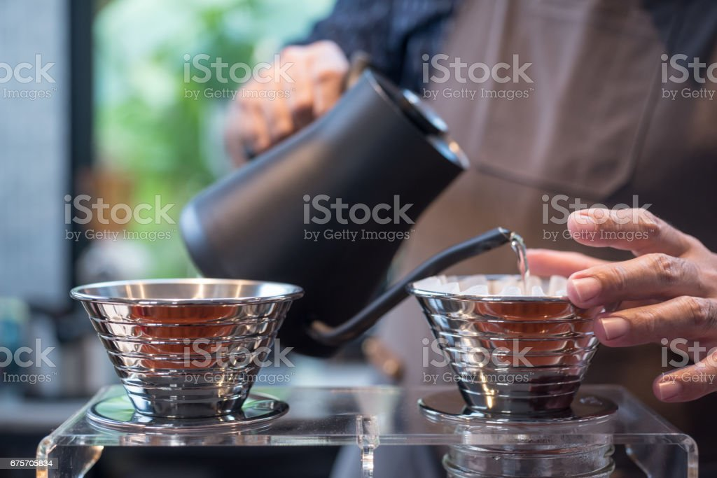 Brewing A Filter Coffee 免版稅 stock photo