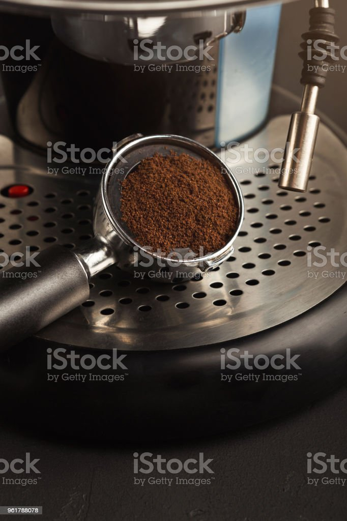 Brewing coffee in professional machine, closeup stock photo