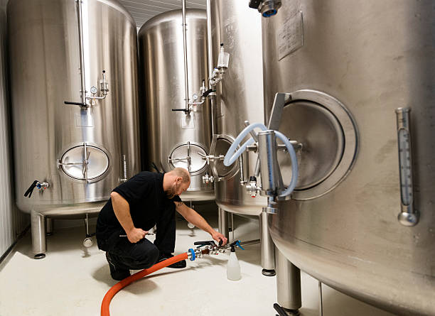 Brewmaster at Work. stock photo