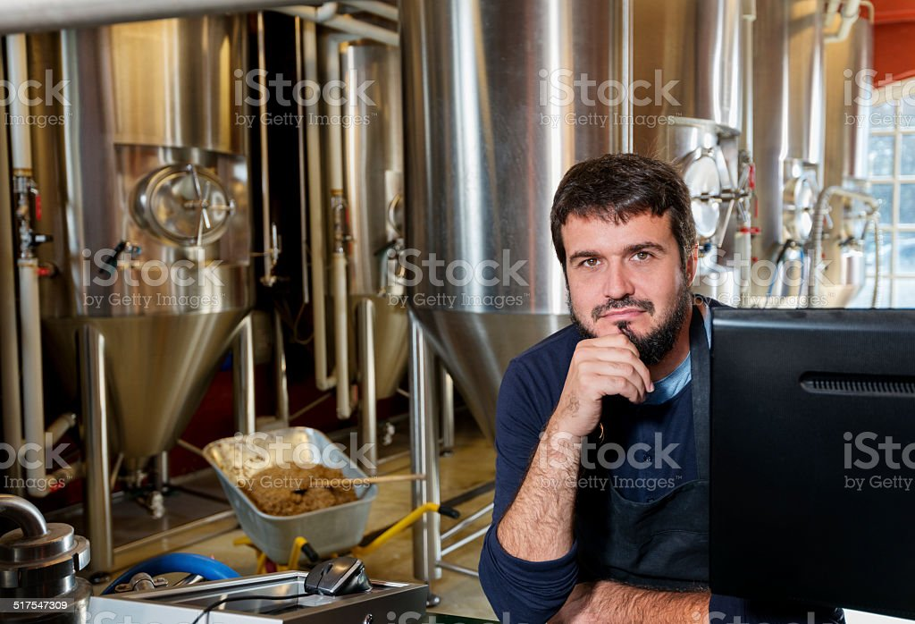 Brewmaster At Work stock photo