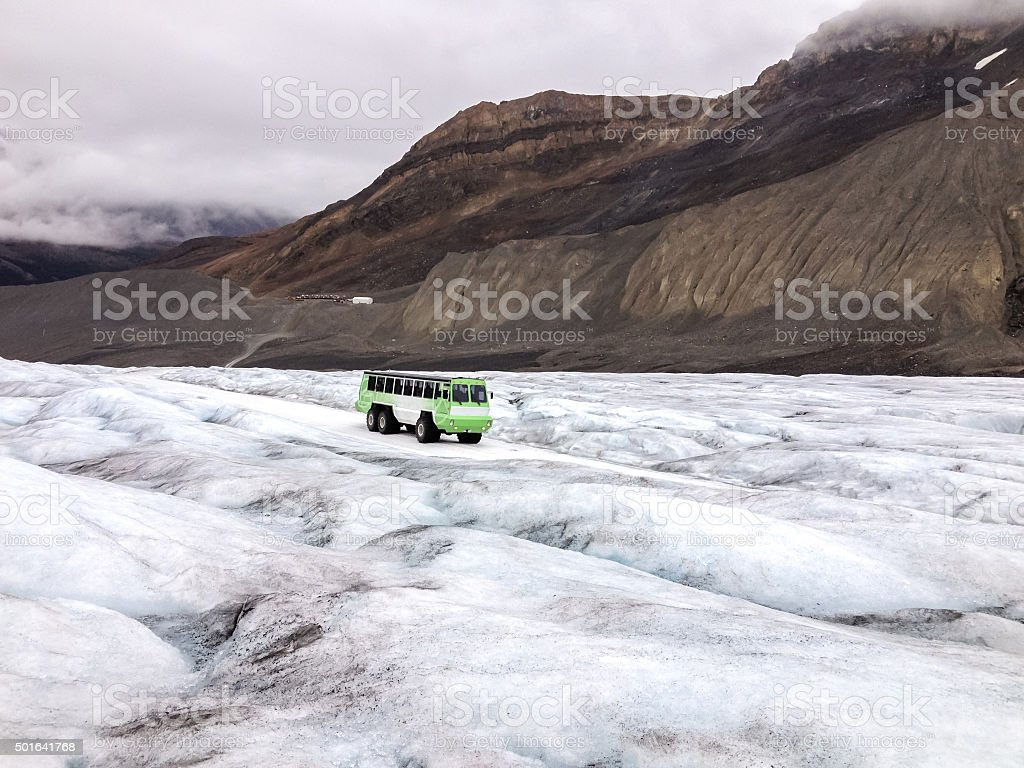 Brewster snow coach on Athabasca Glacier stock photo