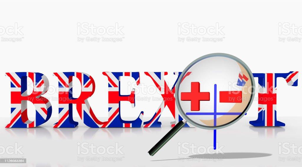 brexit advantages disadvantages yes now plus minus + -, 3d rendering stock photo