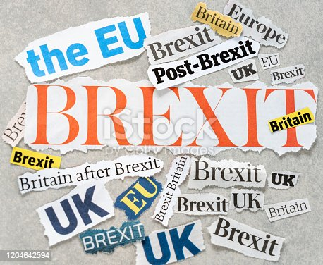 The word 'Brexit' among other words related to the aftermath of the UK leaving the European Union.