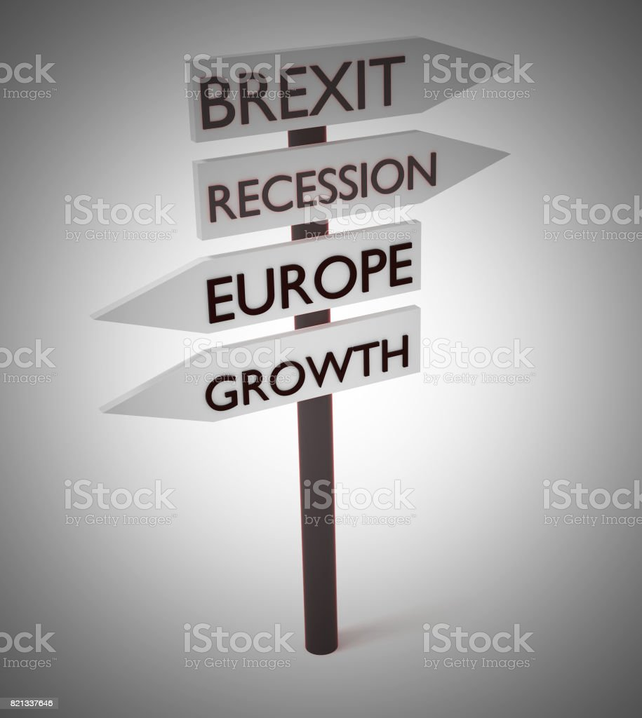 Brexit And Europe: Recession And Growth Guidepost, 3d illustration stock photo