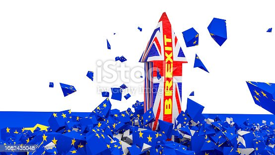 istock brexit british flag arrow cracks european flag in piecies isolated background - 3d rendering 1082435048