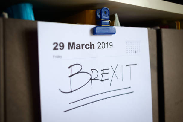 brexit-business-erinnerung - wirtschaftsrecht stock-fotos und bilder