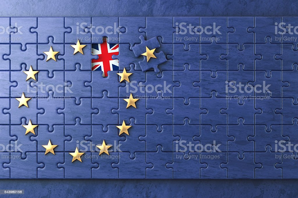 Brexit concept. Puzzle with EU European Union flag  without Grea stock photo