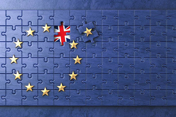 brexit concept. puzzle with eu european union flag  without grea - brexit stockfoto's en -beelden