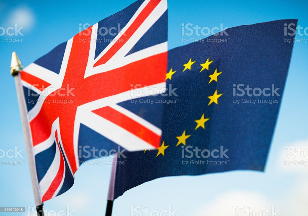 Brexit concept: UK and European Union Flags stock photo