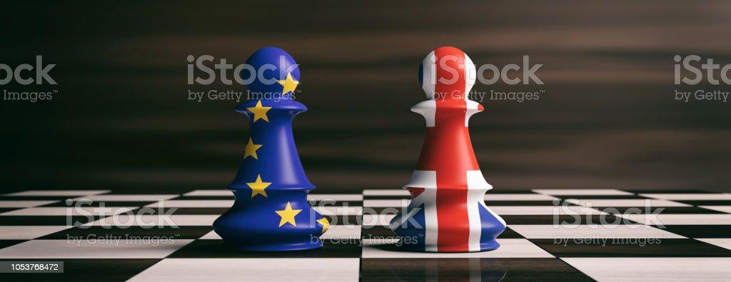 Brexit-Konzept. Vereinigtes Königreich und Europäische Union Flaggen auf Schachfiguren auf einem Schachbrett. 3D illustration – Foto