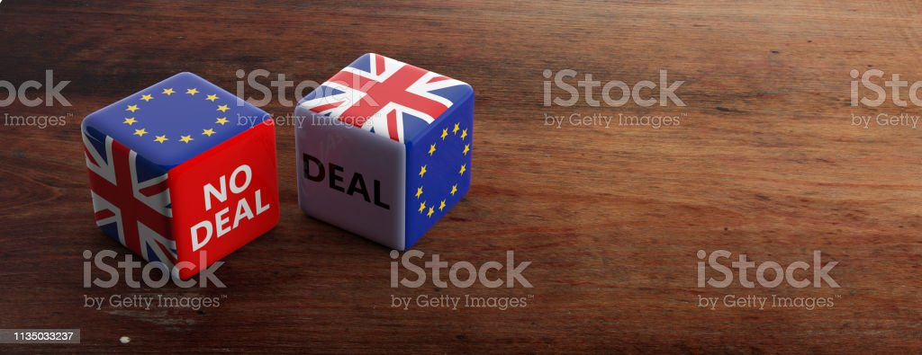 Brexit, deal or no deal concept. United Kingdom and European Union flags on dice, banner. 3d illustration stock photo