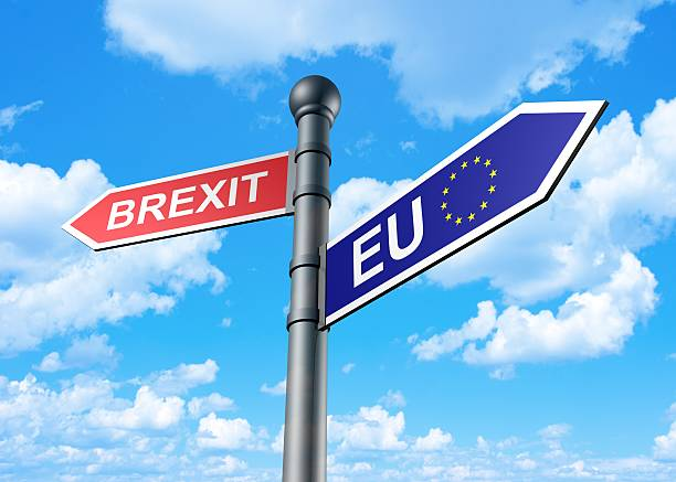 Brexit Direction Sign stock photo