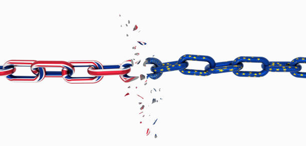 brexit europe england  flag like chain broken brexit - 3d rendering stock photo
