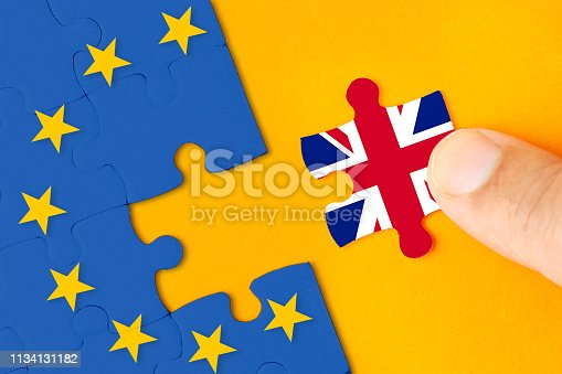 istock Brexit, Flags of the United Kingdom and the European Union on puzzle 1134131182