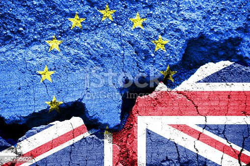 Brexit, Flags of the United Kingdom and the European Union on cracked background