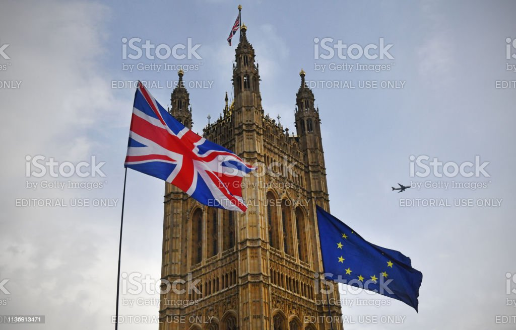 Brexit flags outside Parliament stock photo