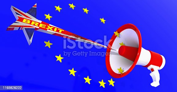istock brexit loudspeaker european union stars exit after elections - 3d rendering 1193826222