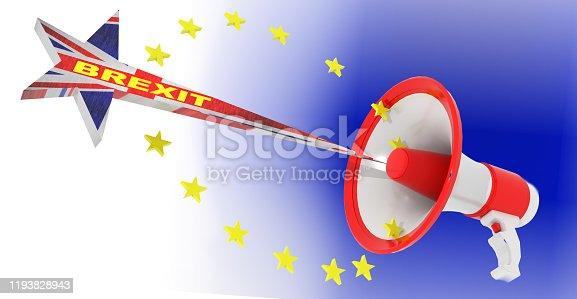 istock brexit loudspeaker european union stars exit  eu gb - 3d rendering 1193828943