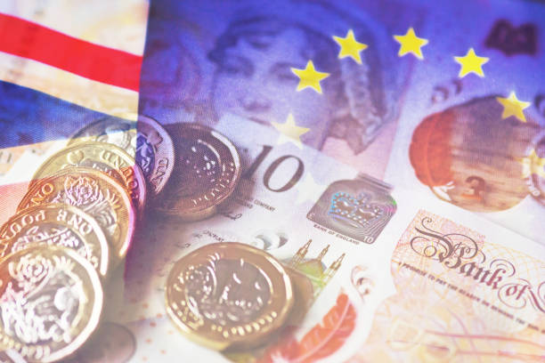 Brexit money compilation A compilation of  several images of Euros, pounds and Euro and UK flags representing the issues with Brexit. ten pound note stock pictures, royalty-free photos & images