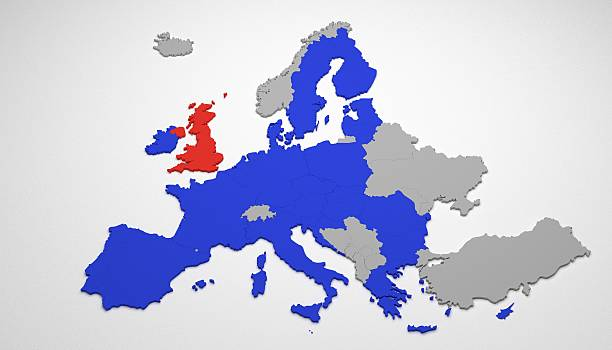 Brexit on map of Europe stock photo