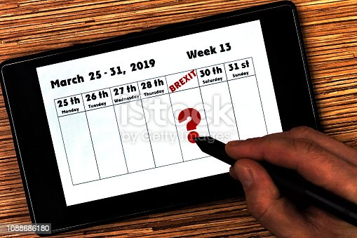 Calendar for the 13th Week of 2019 in UK format focusing on Britain's date of exit from the European Union