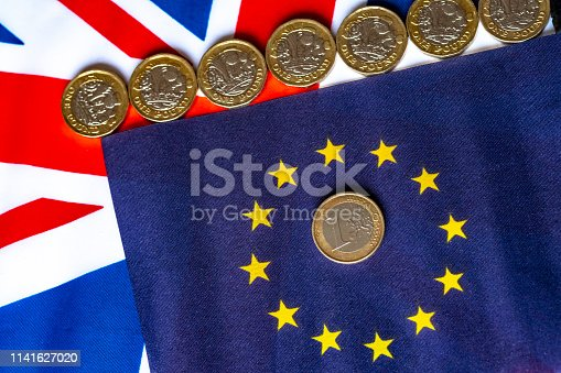 Union and EU Flags with a row of 0ne pound coins and a single Euro coin.