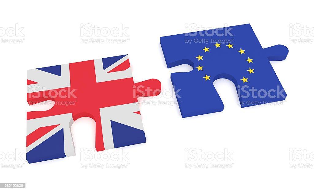 Fotografía de Brexit Puzzle Pieces Union Jack And Eu Flag 3d ...