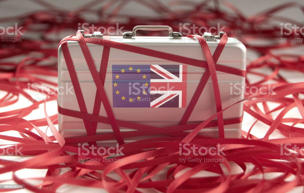 Brexit red tape concept stock photo