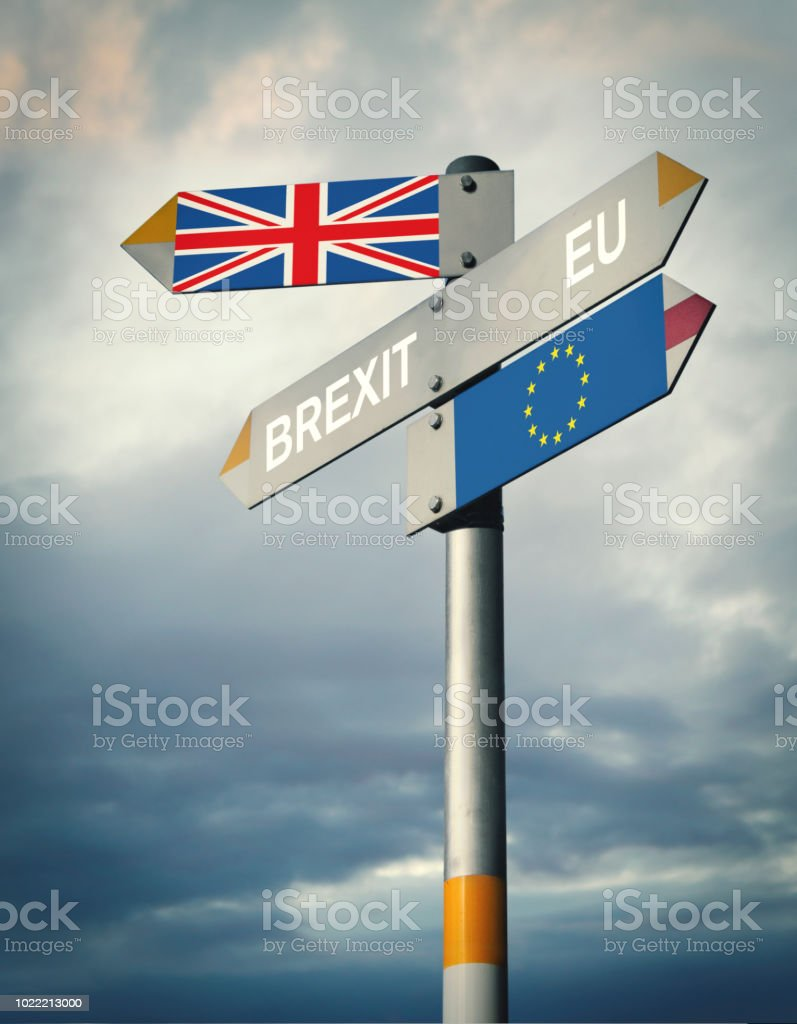 Brexit signpost stock photo