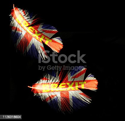 brexit soft deal feather flying uk flag on dark background