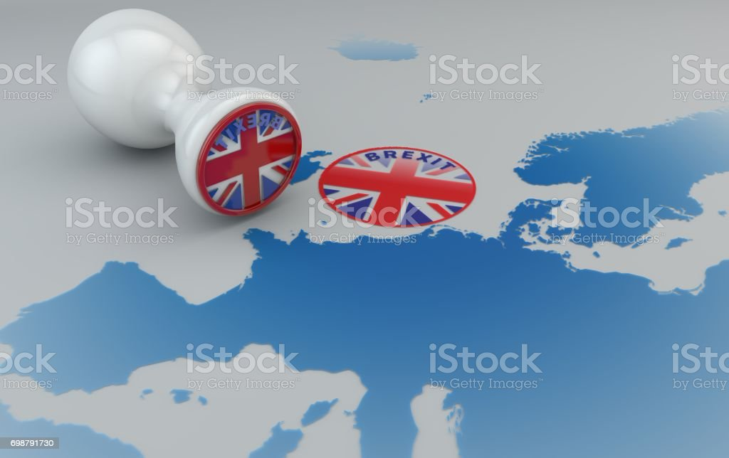Brexit stamp and map of Europe, England and European community stock photo
