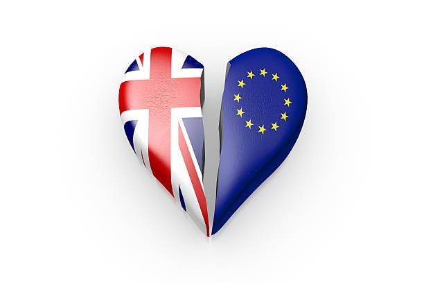 brexit, symbol des referendums uk gegen eu - liebeskummer englisch stock-fotos und bilder